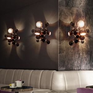 Atomic wall lamp Nickel Plated & Glossy White