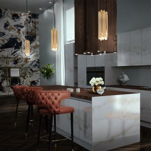 Brubeck pendant lamp lights switched on