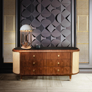 Essential home franco sideboard front view Polished Brass & Walnut Wood