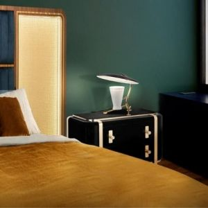 Essential home franco bed front Polished Brass & Walnut Wood