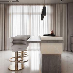 Essential Home Loren Bar Chair Polished Brass & White Leather
