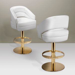 Essential Home Russel Bar Chair Polished Brass & White Leather