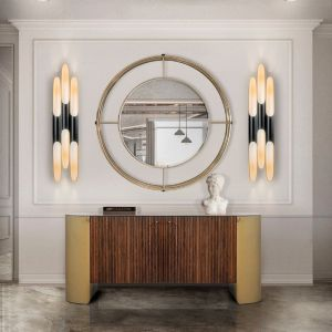 Essential home shirley mirror front Polished Brass & Mirror